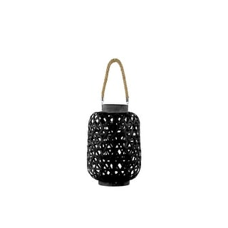 Bamboo Round Lantern with Criss Cross Cutouts and Hemp Rope Handle, Black