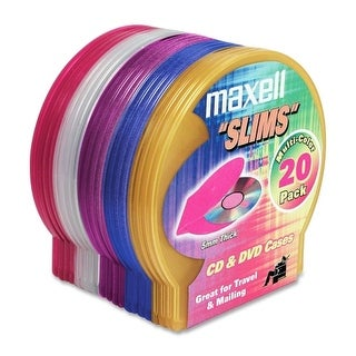 Maxell 190073 Maxell CD-355 Jewel Cases - Jewel Case - Book Fold - Plastic - Blue, Red, Gold, Teal, Brown - 1 CD/DVD