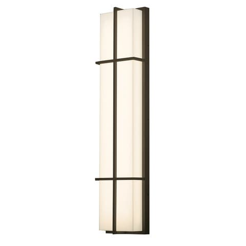Avenue 1-light Textured Bronze LED Outdoor Sconce, White Acrylic Shade