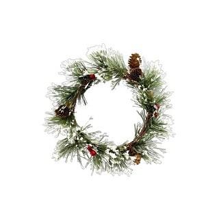 SPC Wreath Snowy Pine W/Berries & Pinecones G/R/W