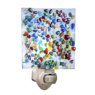 J. Devlin Glass Art Fused Confetti Glass Nightlight - Night Light Home Decor - multi - 3 in. x 1.5 in. x 4.25 in.