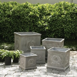 Set of 5 Square Laurel Wreath Design Garden Planters with a Weathered Gray Finish