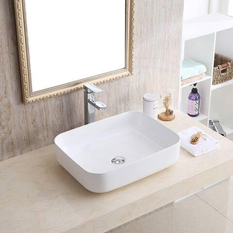 "Karran VC-505-WH Valera 20"" Vitreous China Vessel Bathroom Sink in White"