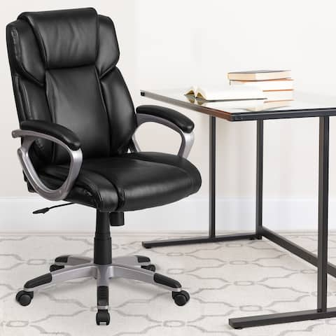 Mid-Back LeatherSoft Executive Swivel Office Chair with Padded Arms