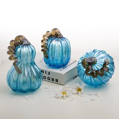 Glitzhome Blue Handblown Glass Pumpkins