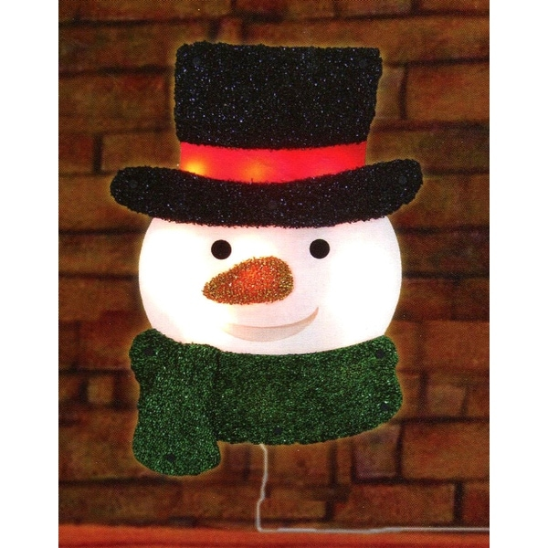 16 lighted tinsel snowman with top hat christmas window silhouette decoration