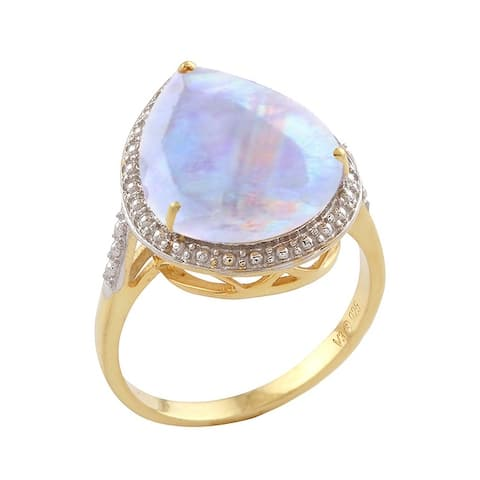 Gold Over Sterling Silver with Rainbow Moonstone Solitaire Ring