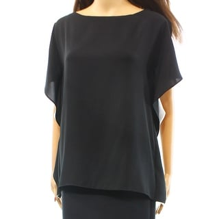 Anne Klein NEW Black White Contrast Side Ruffle Women's Size 2 Blouse