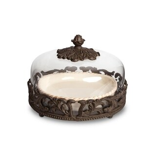 12 Cream and Brown Dishwasher Safe Acanthus Leaf Base Pie Plate with Dome Lid