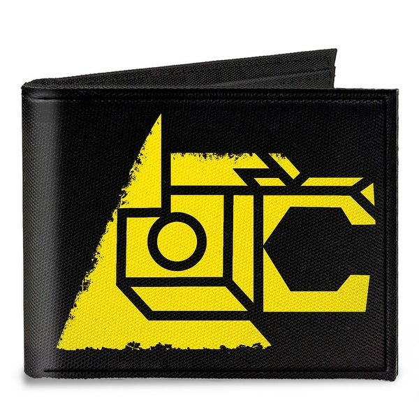 Voltron Lion Symbol + Logo Stripe Black Yellow Multi Color Canvas Bi Fold Canvas Bi-Fold Wallet One Size - One Size Fits most