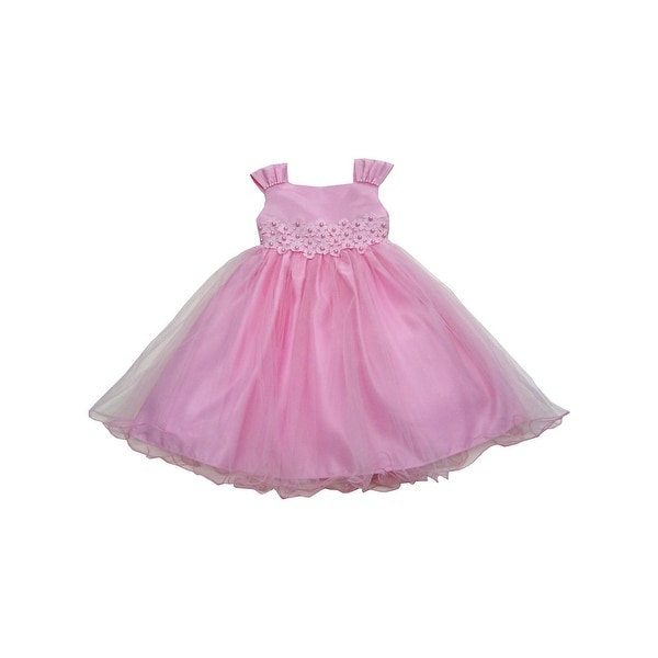 Baby Girls Pink Pleated Shoulder Strap Beaded Overlaid Flower Girl Dress