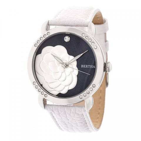 Bertha Daphne Women's Quartz Watch, Genuine Leather Band, Luminous Hands