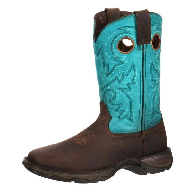 """Durango Western Boots Womens 10"""" Rebel Bar None Leather Brown"""