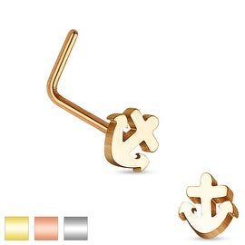 Anchor Top 316L Surgical Steel L Bend Nose Ring (Sold Individually)