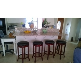 Dark Cherry Finish Swivel Barstools (Set of 4)