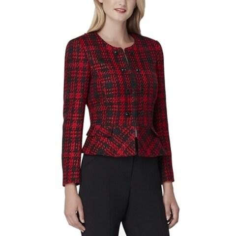 Tahari by ASL Red Black Womens Size 14 Peplum Button Detail Blazer