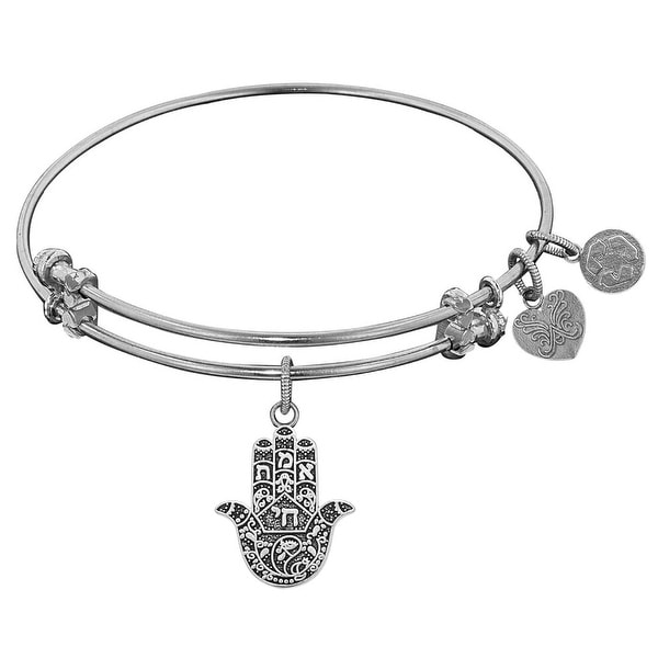 """Angelica Collection Antique Stipple Finish Brass """"hamsa"""" Expandable Bangle"""