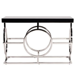 """Howard Elliott Stainless Steel Console Table 47"""" Wide Metal and Wood Console Table"""