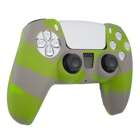 Insten Silicone Case Protective Cover for PlayStation PS5 Contoller, Green & Grey
