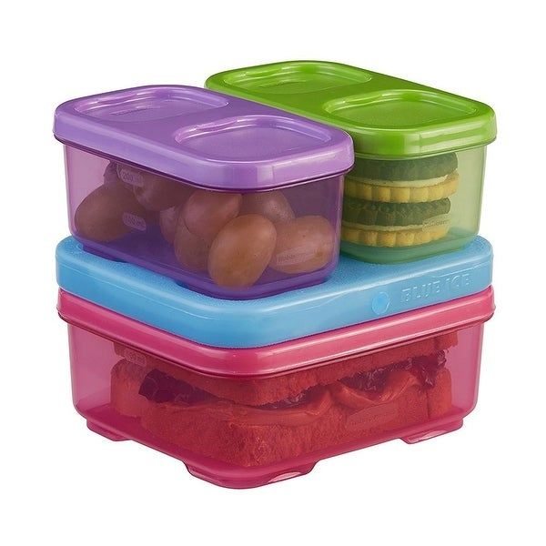 Rubbermaid 4-Piece Snap and Stack Lunch Blox Kit with Ice, Multi, 5.25x5x4.5 Inches - multi