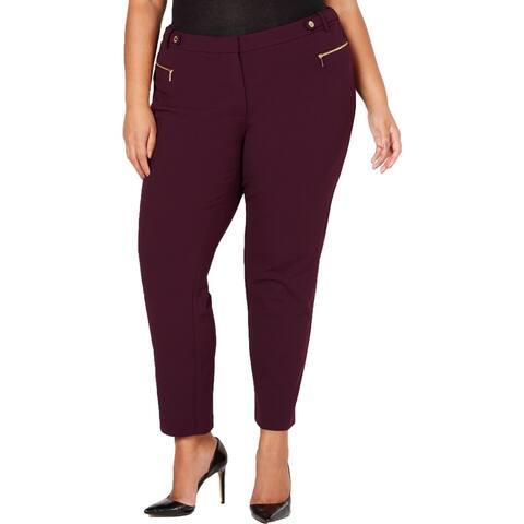 Calvin Klein Womens Plus Dress Pants Crepe Double Zipper