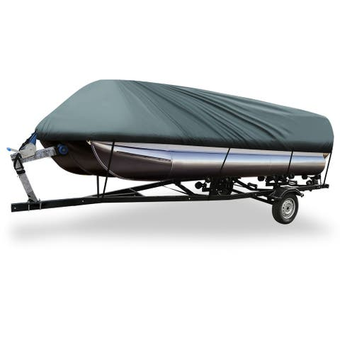Gray 17-20ft 210D Boat Cover Waterproof Trailerable for Square Shape Ship - Grey - Fit Length:17-20ft,Beam Width: 96""