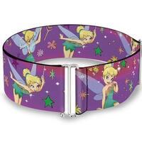 Tinker Bell Poses Flowers Stars Skull Purple Cinch Waist Belt   ONE SIZE