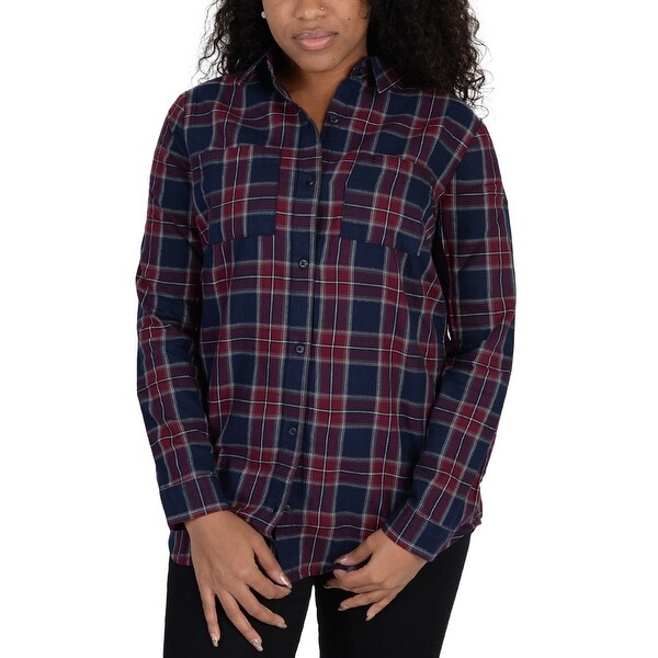 Adidas Womens Flannel Checkered Blouse Navy - Navy/Red/Burgundy/White/Geen