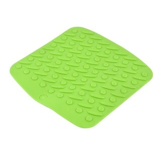 Silicone Rectangle Shaped Heat Insulation Washable Table Mat Coasters Green