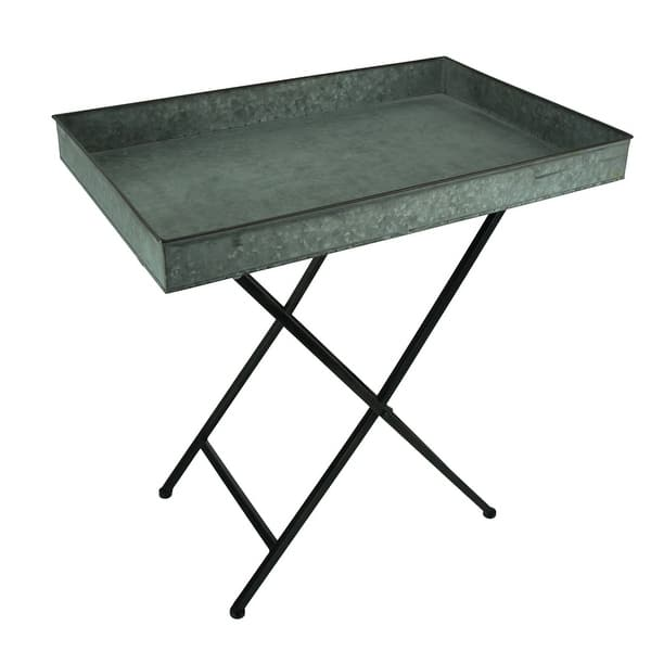 Rustic Rectangular Galvanized Metal Tray Side Table 25 Inch X 16 Inches