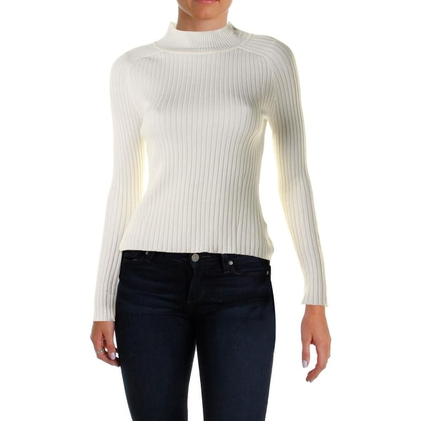 Material Girl Womens Mock Turtleneck Sweater Ribbed Long Sleeves
