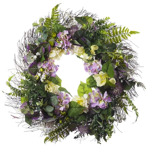 """Enova Home 24"""" Artificial Mixed Hydrangea Flower Wreath with Green Leaves for Festival Celebration Front Door Wall Decoration"""