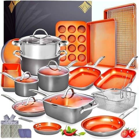 Copper Pots and Pans Set -23pc Copper Cookware Set Copper Pan Set Ceramic Cookware Set - 23PCS