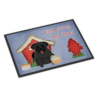 Carolines Treasures BB2760MAT Dog House Collection Pug Black Indoor or Outdoor Mat 18 x 0.25 x 27 in.