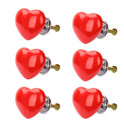 6pcs Ceramic Knobs Drawer Heart Shaped Pull Handle Furniture Door Cabinet Cupboard Wardrobe Dresser Replacement Red