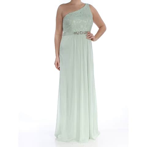 ADRIANNA PAPELL Womens Green Embellished Lace One-shoulder Gown Asymmetrical Neckline Full Length Evening Dress Size: 6