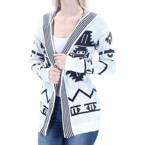 HIPPIE ROSE Womens 1660 White Tribal Hooded Long Sleeve Sweater S Juniors B+B