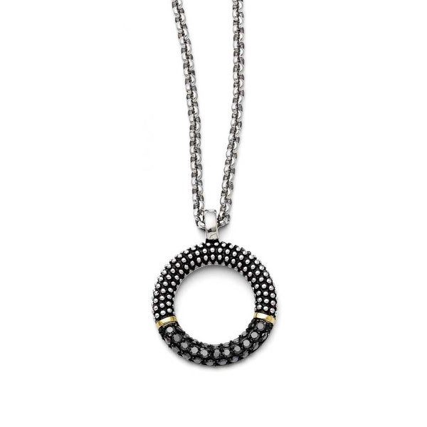 Chisel Stainless Steel Black CZ with Yellow IP-plated Antiqued Circle Necklace (2.5 mm) - 18 in