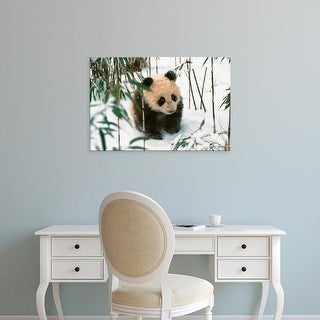Easy Art Prints Keren Su's 'Panda Cub On Snow' Premium Canvas Art