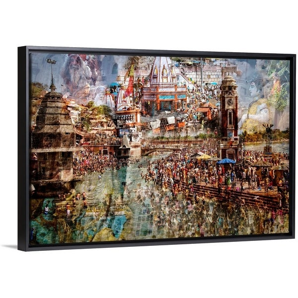 """Holy India"" Black Float Frame Canvas Art"