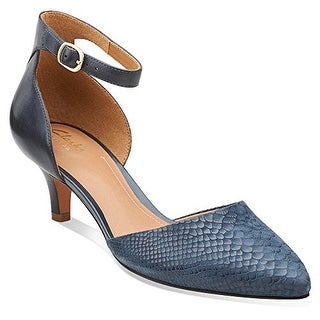 CLARKS Womens Sage Glamor Pointed Toe Ankle Strap Classic Pumps