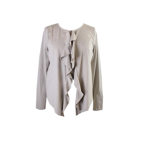 Inc International Concepts Beige Ruffled Faux-Suede Jacket L