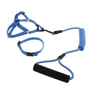 Dog Outdoor Nylon Training Adjustable Leash Rope Harness Collar (Dark Blue, S)