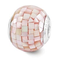 Sterling Silver Reflections Pink Mother of Pearl Mosaic Bead (4mm Diameter Hole)