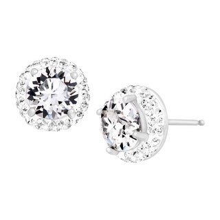 Crystaluxe April Earrings with White Swarovski elements Crystals in Sterling Silver