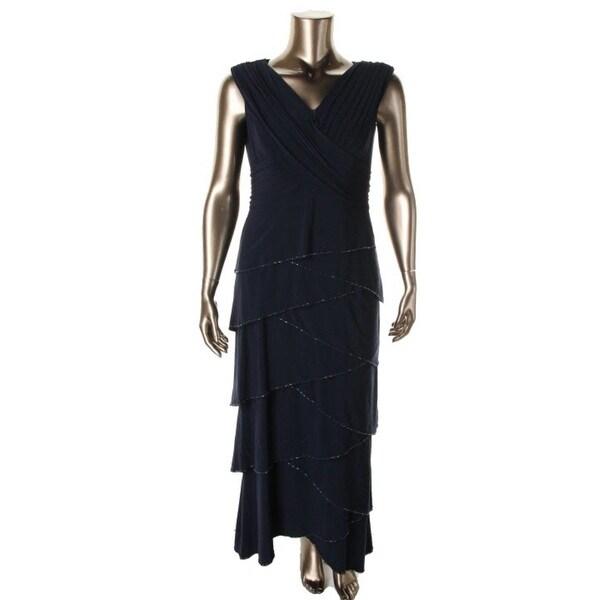 Patra Ltd Womens Evening Dress Tiered Beaded