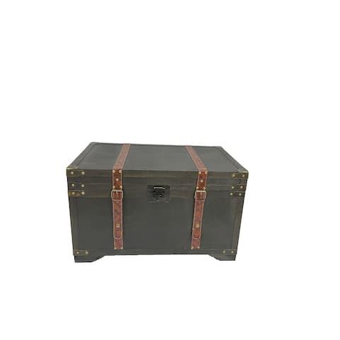 Gold Rush Black Medium Wood Storage Trunk Wooden Treasure Chest
