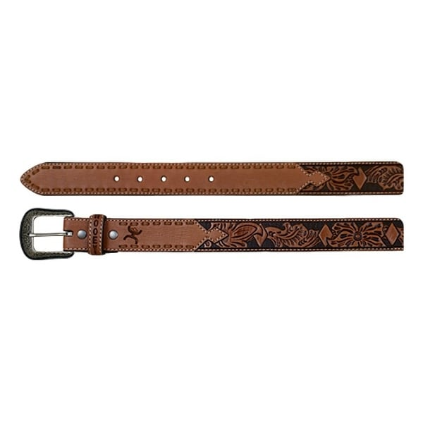 HOOey Western Belt Mens Floral Tooled Diamond Logo Chestnut