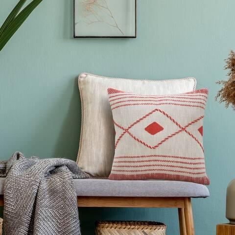Coastal Edge Geometric Diamond Throw Pillow