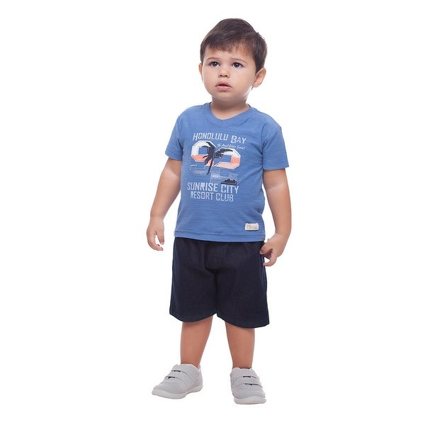 Baby Boy Outfit Graphic Tee V-Neck Shirt and Shorts Set Pulla Bulla 3-12 Months